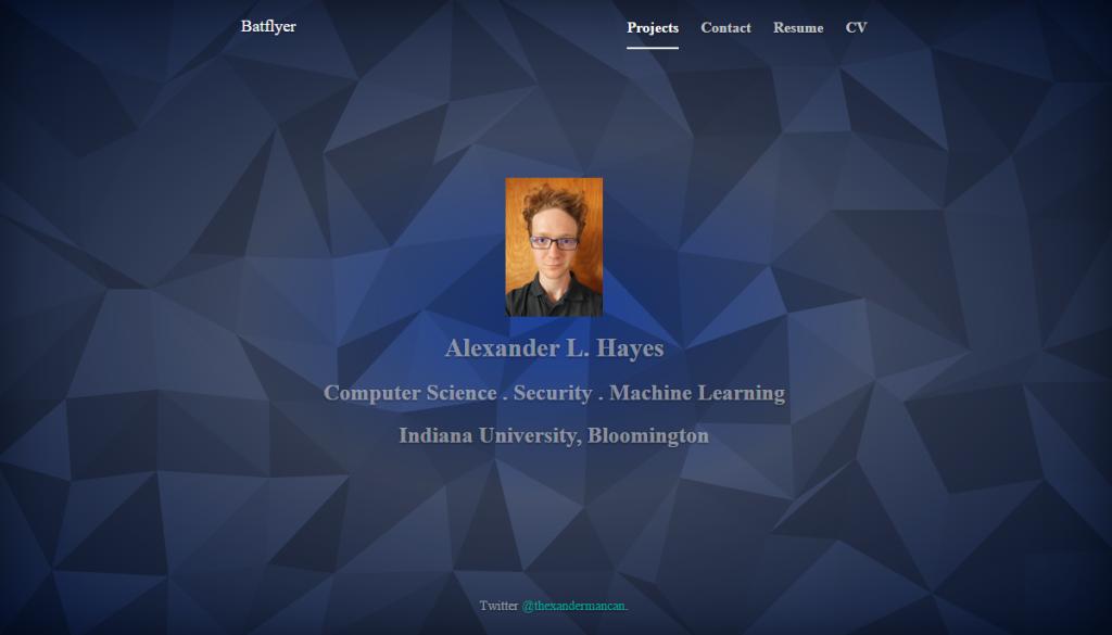 batflyer.net cover page, website for Alexander Hayes IU